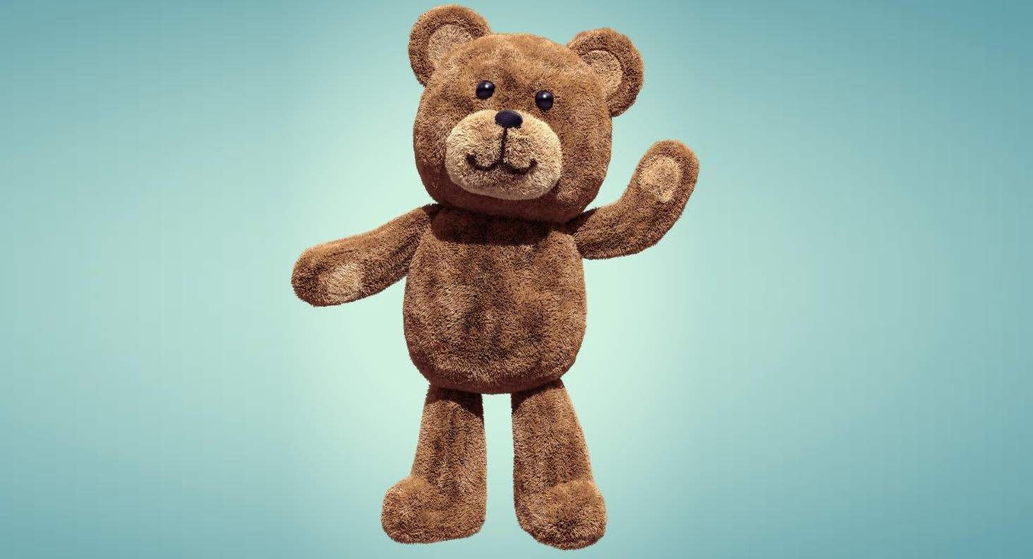 Waving teddy bear to comfort anxious children